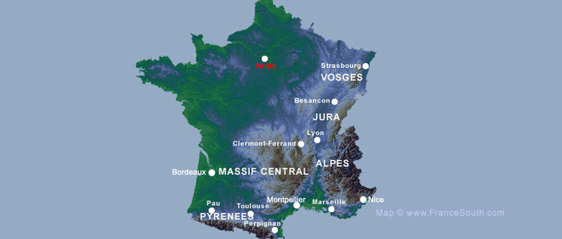 Mountains Of France Map.Map Showing The Mountains Of France